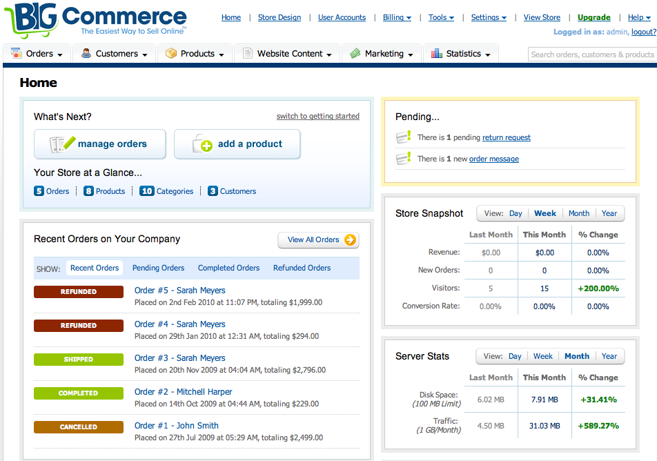 BigCommerce Review 2013 - Dashboard (click to enlarge)