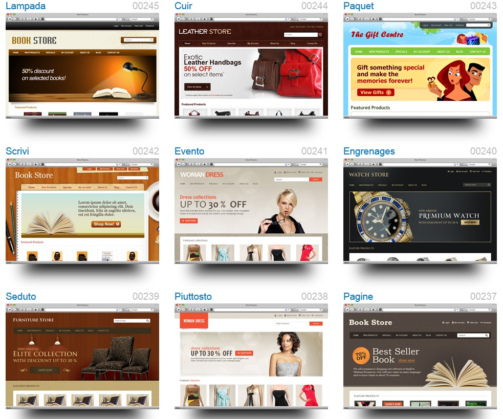 CoreCommerce Review 2013 - Themes Preview (click to enlarge)
