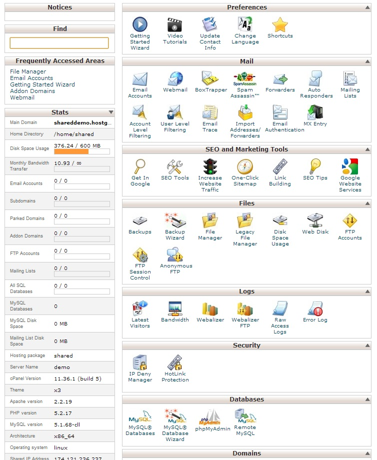 HostGator cPanel Interface (click to enlarge)