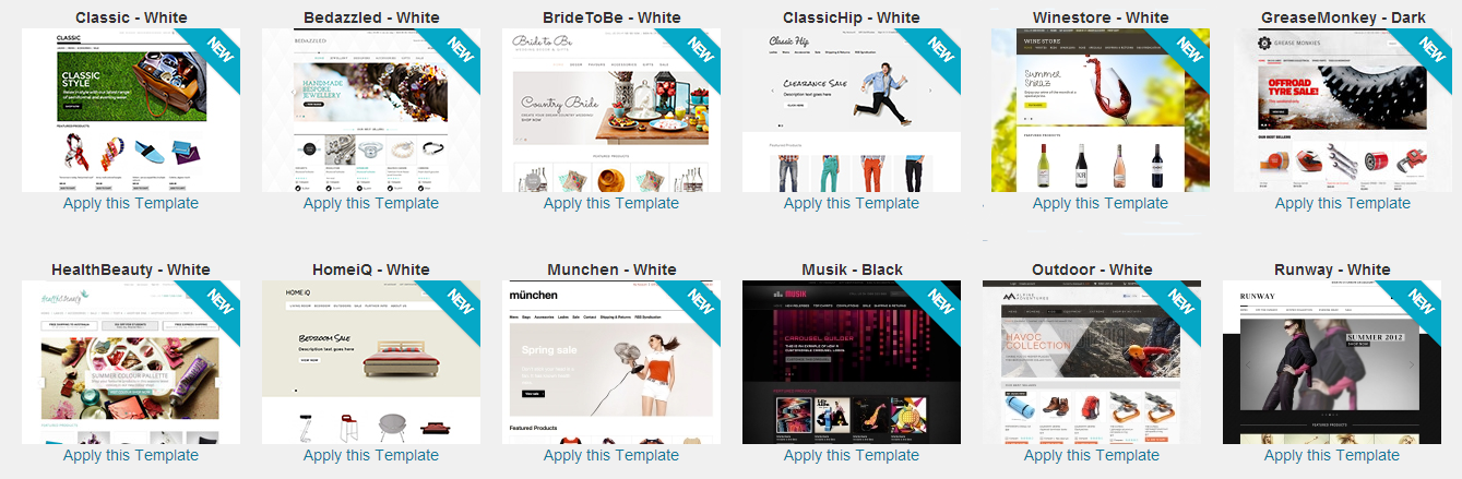 New BigCommerce Templates for 2013