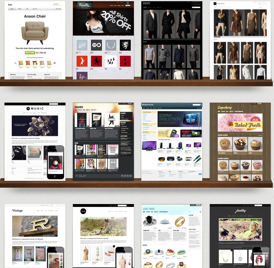 Shopify Review 2013 - Theme Selection (click to enlarge)