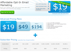 AWeber Plans and Pricing Review (click to enlarge)