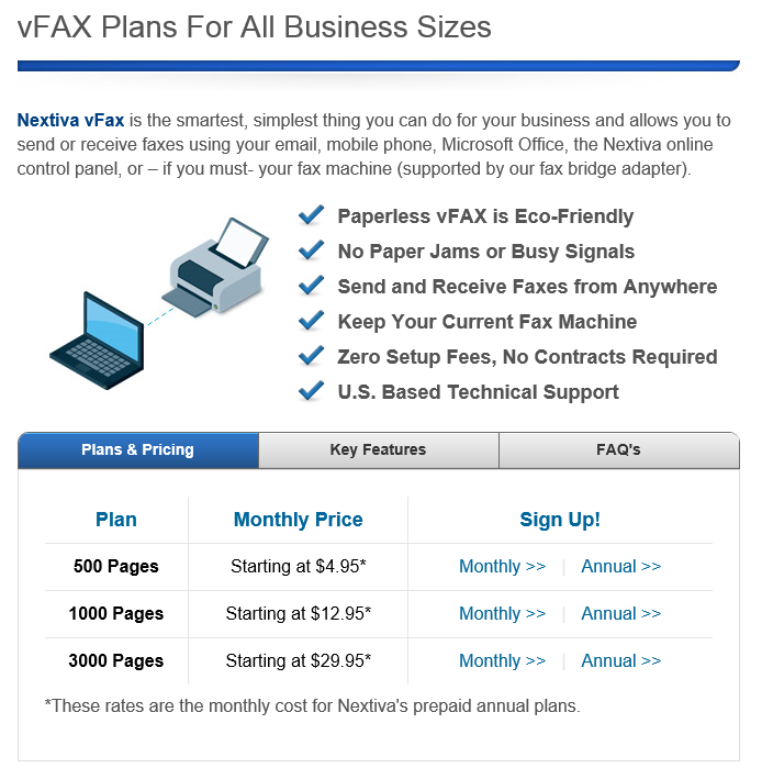 Nextiva Fax Pricing (click to enlarge)