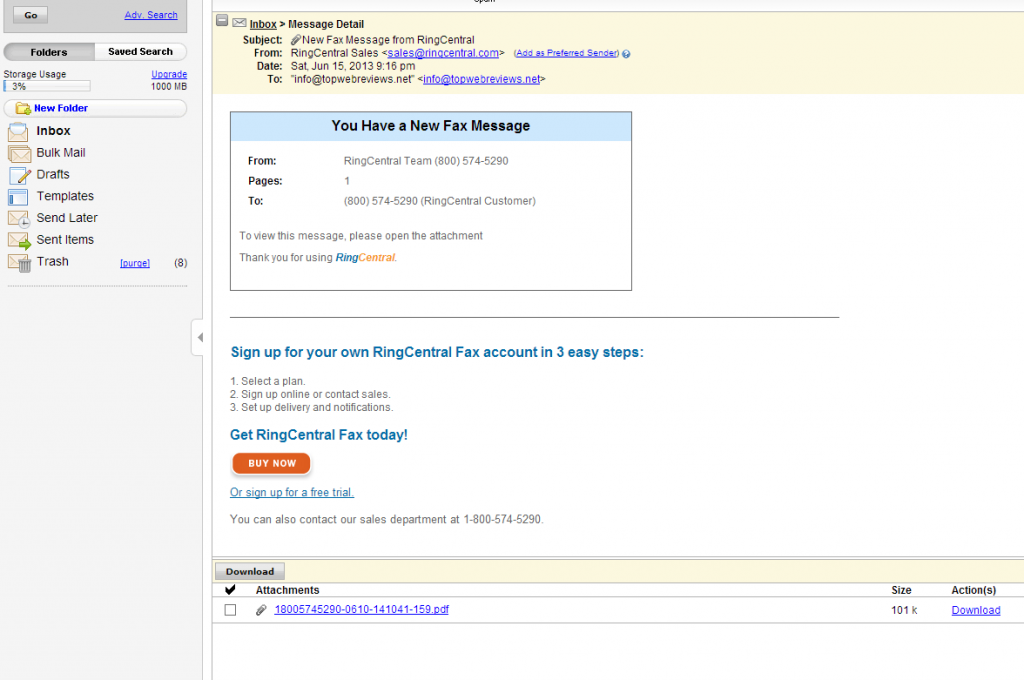 RingCentral Sample Email Fax (click to enlarge)