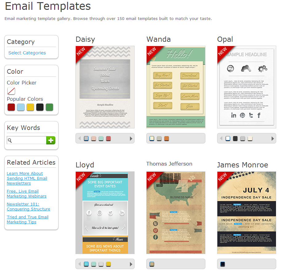 Sample Aweber Email Templates (click to enlarge)